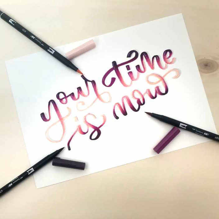 your time is now - Lettering mit Farbverlauf Blending