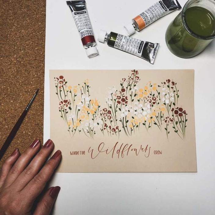 Handlettering: where the wild flowers grow - Bild mit vielen Blumen aus Noppenfolie