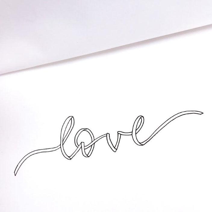 Anleitung für ein Ribbon Lettering - Schritt 5: mit Fineliner ausarbeiten und nachzeichnen