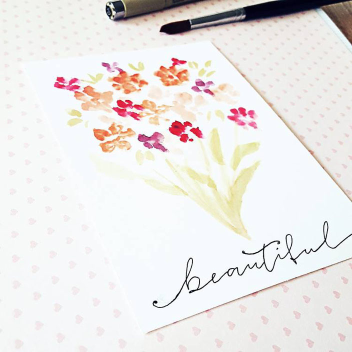 Handlettering mit Watercolor Blumenstrauss - beautiful (_kreatives_k_ bei den Letter Lovers)