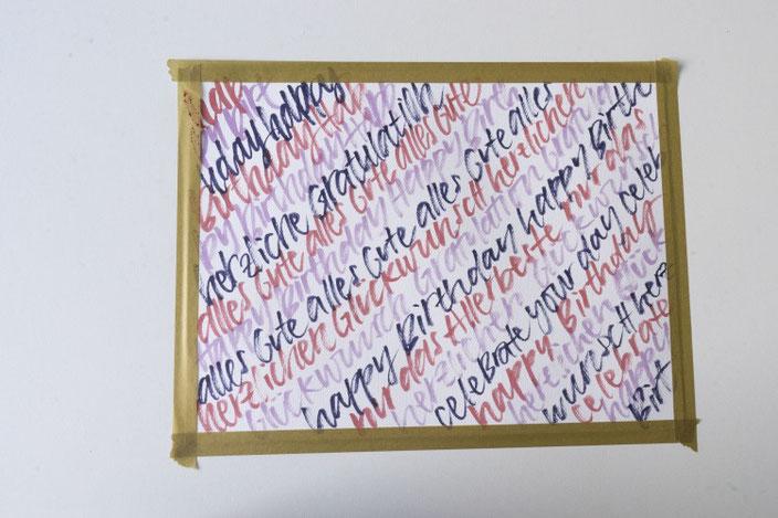 lockeres Handlettering zum Geburtstag - gestalte dein eigenes Geschenkset