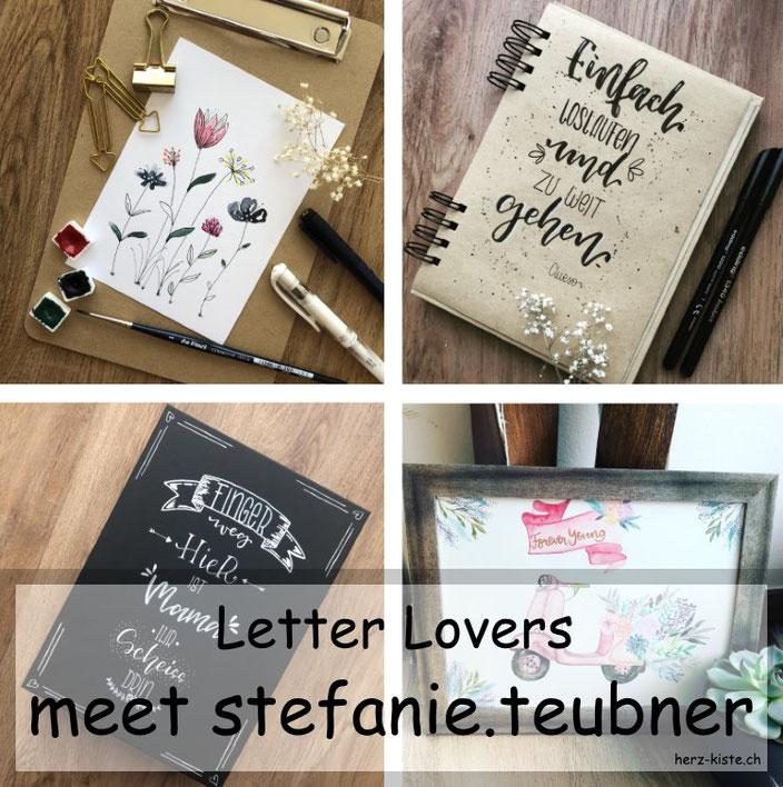 Letter Lovers: stefanie.teubner zu Gast im Lettering Interview mit einer Anleitung für easy Aquarellblumen