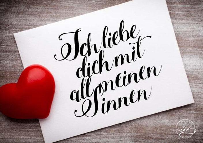 Lettering: Ich liebe dich mit all meinen Sinnen. (Handlettering für die Letter Lovers von wunschbriefe)