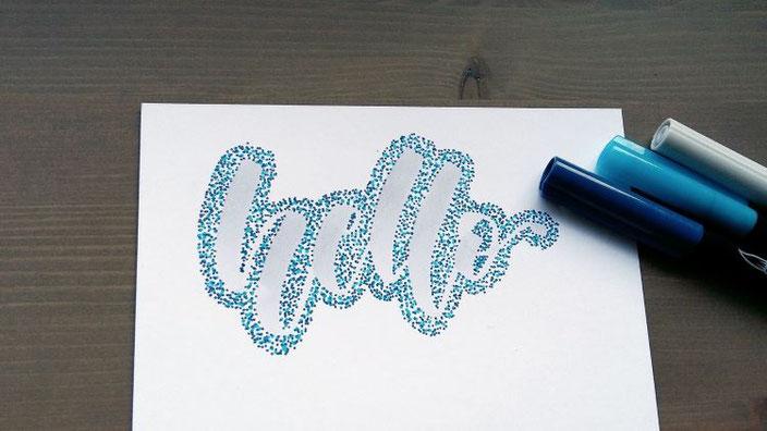 hello - Punkte Lettering. Anleitung für ein spezielles Handlettering mit vielen Punkten