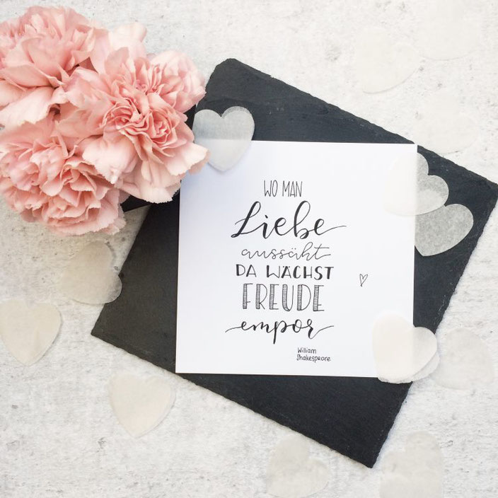 Zitat Lettering: Wo man Liebe aussäht da wächst Freude empor. William Shakespeare. (Handlettering von letterlaune für die Letter Lovers)