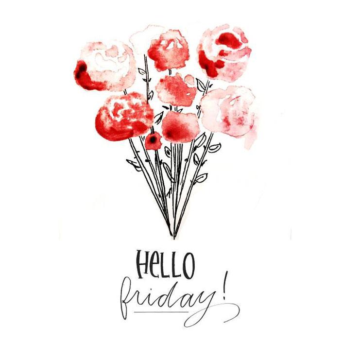 Handlettering hello friday mit Aquarell Blumen für die Letter Lovers von _kreatives_k_