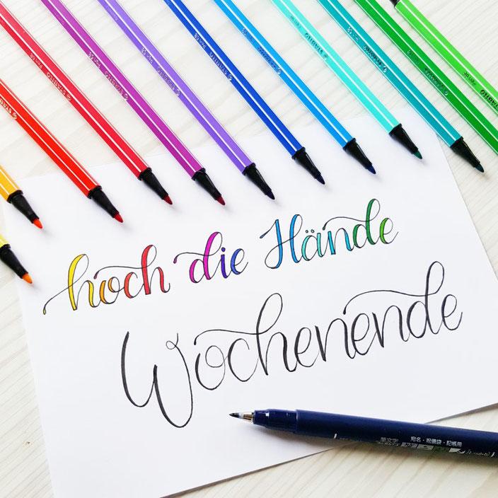 Handlettering: Hoch die Hände Wochenende! Lettering für den Lettering Guide für Anfänger