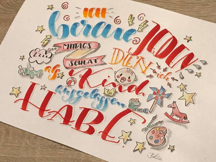 Lustiger Handlettering Spruch über den Mittagsschlaf - bellalettern für die Letter Lovers