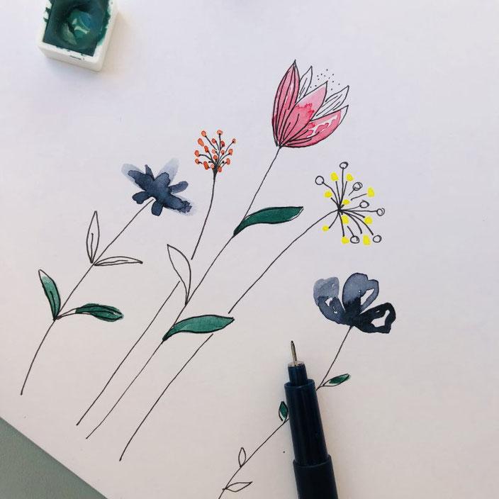 Anleitung: Wie du ganz einfache und simple Aquarellblumen malen kannst