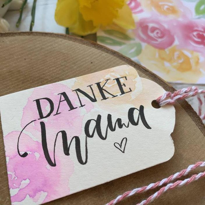 Lettering Geschenkanhänger Danke Mama