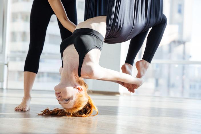 Aerial Pilates ist ein schweisstreibendes und dennoch federleichtes Training. Fast wie fliegen.