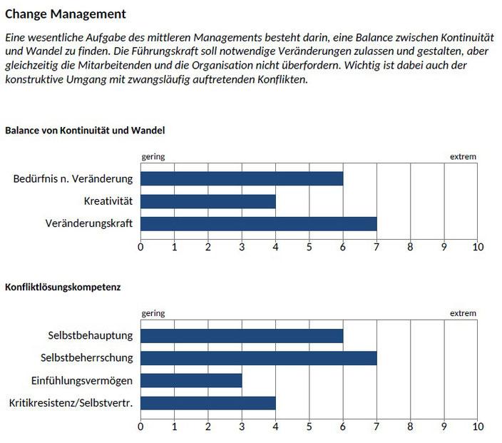 Beispiel Auswertungsmodul CAPTain::management®; Change Management, Balance von Kontinuität und Wandel, Konfliktlösungskompetenz; CAPTain Test®; berufsrelevantes Verhalten, individuelle Entwicklungspotenziale; Managementebenen, Managementfunktionen
