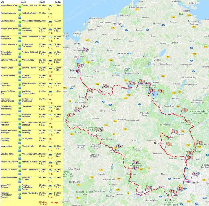 Karte und Steckenabschnitte Große Runde durch Mecklenburg und Brandenburg