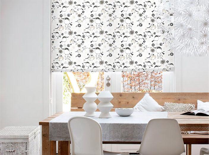 Рулонная штора, ткань Птички