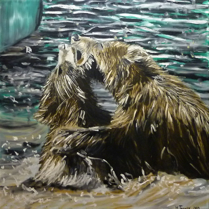 Two bears playing in the water. 100 x 100 cm, oil on canvas. 2009