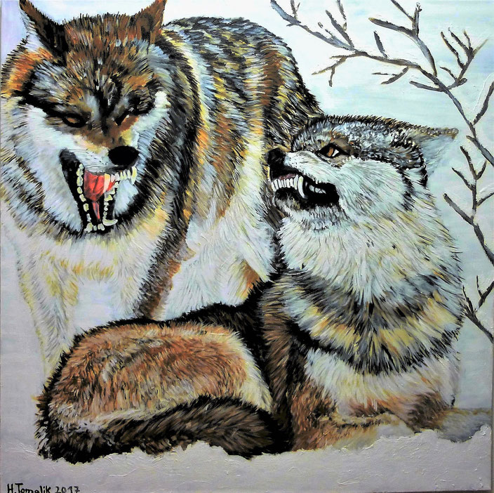 Wolves in the snow. 100 x 100 cm,oil on canvas