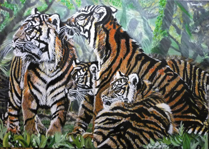 Sumatra-Tigers in the jungle. 140 x 100 cm, oil on canvas