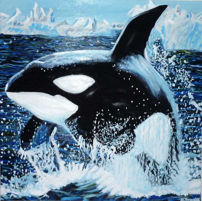 Free Orca. 100 x 100 cm,oil on canvas