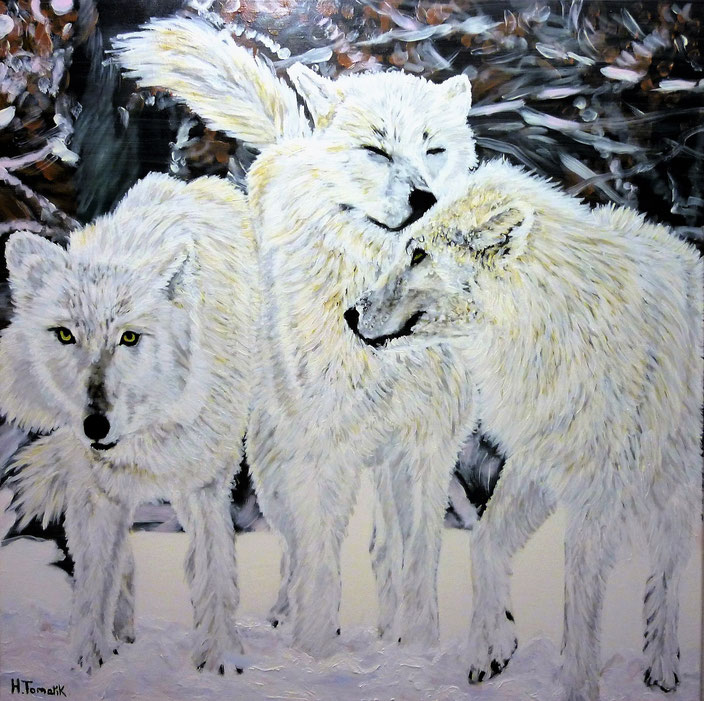 Polar-Wolves. 100 x 100 cm, oil on canvas