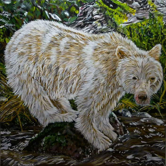A very special white bear. 100 x 100 cm,oil on canvas