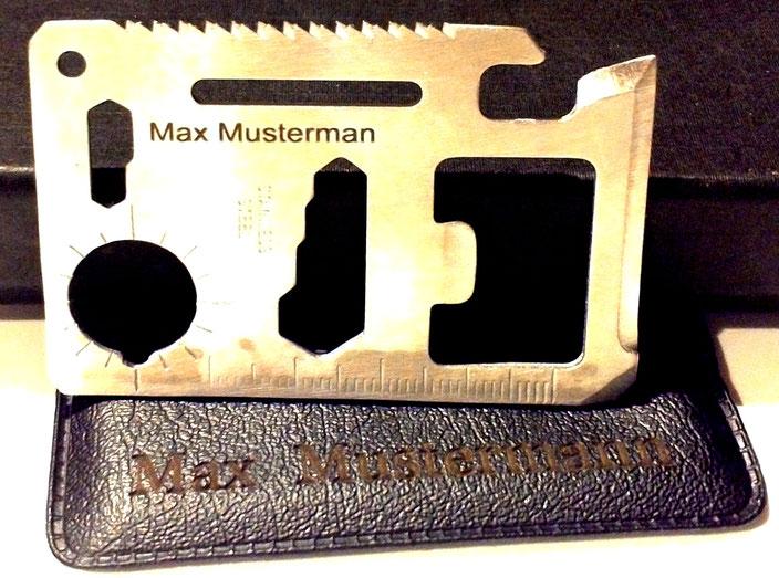 Metall und Kunstleder per Laser personalisiert