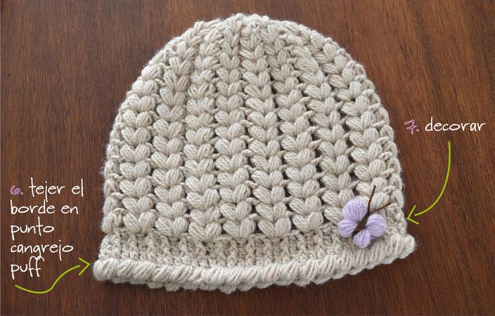 Gorros con trenzas tejido a crochet: paso a paso en 6 tallas