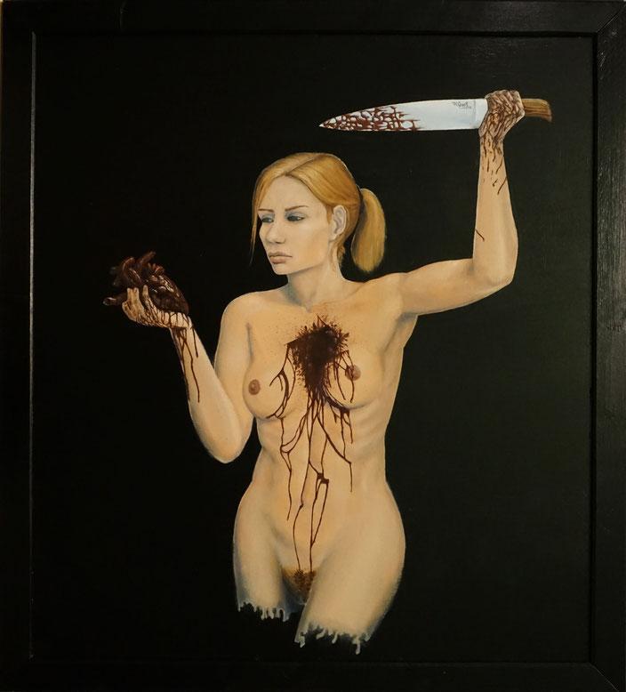 Frau Herz Messer Blut Selbsthass Selbstwert