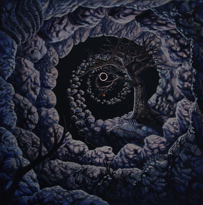 Schwarzes Loch Baum Gerippe Weltuntergang Depression Auflösung