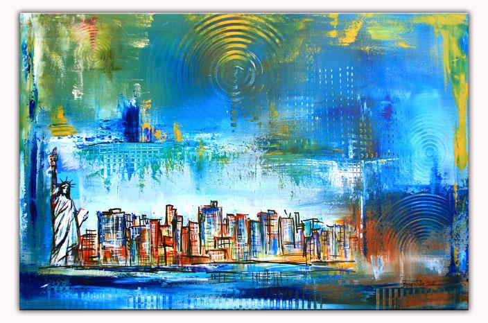 New York mit Freiheitsstatue - Stadtbild, Stadtmalerei, Stadt Gemälde, Wandbild