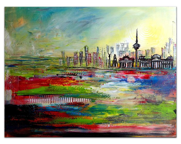 Berlin - Städtemalerei mit Umdruck - Städtebild - Stadt Bilder Malerei - Stadt Gemälde