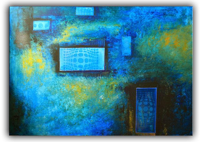 Mystic - abstrakte Malerei - Künstler Bild blau türkis - querformat