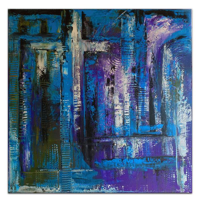 Abstraktes Kreuz blau türkis lila Acrylbild Strukturbild Malerei Original Gemälde