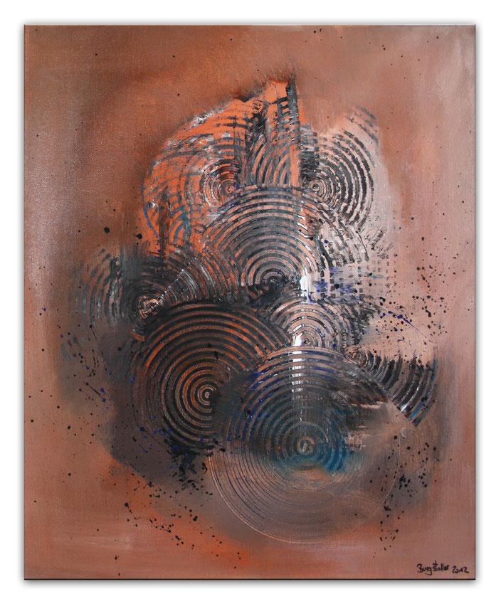 BRAUNE KREISE - Malerei Abstrakt - Original Bild vom Künstler braun ocker