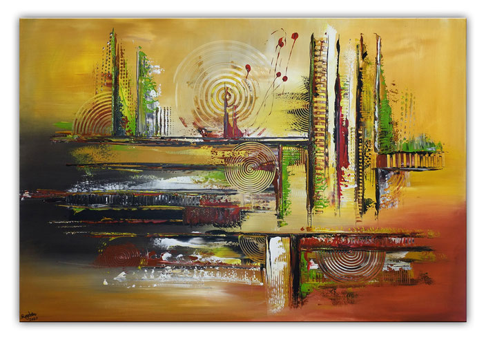 Cottbus abstrakte Malerei orange gelb braun Original Gemälde Acrylbild 116x81