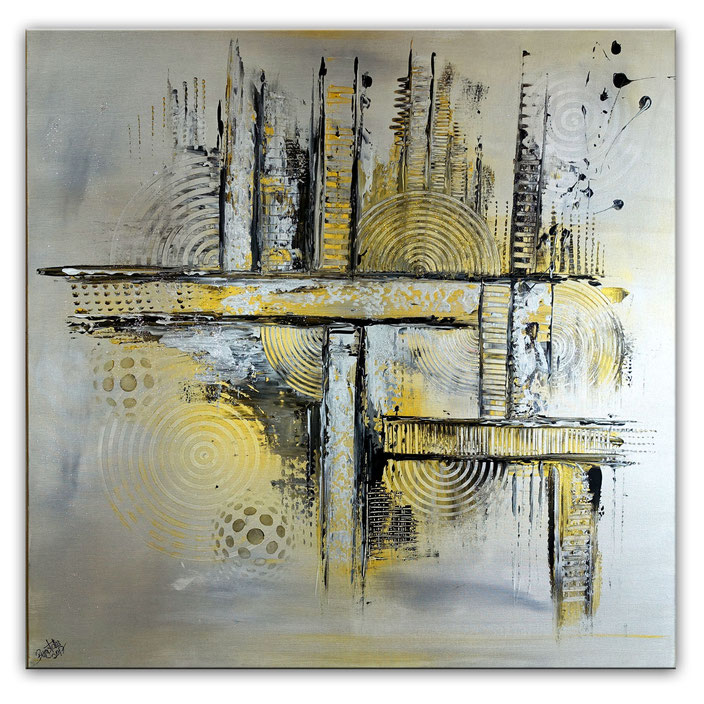 Silber Gold Sept Malerei abstrakt Bild Gemälde Acrylbild 100x100