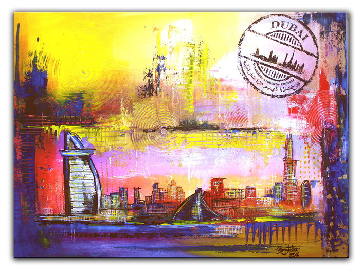 Dubai mit Burj al Arab - Stadtbild, Stadtmalerei, Stadt Gemälde, Wandbild