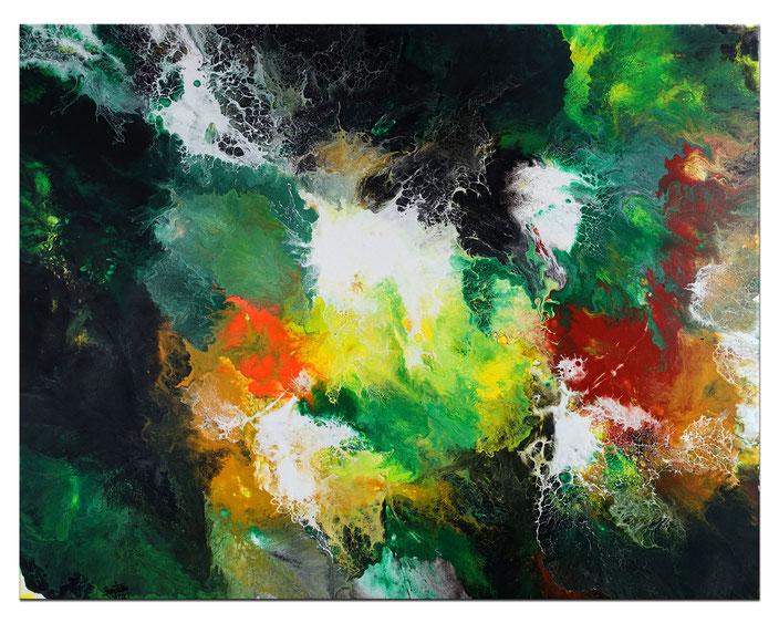 Behind my Garden - Abstrakte Malerei Gemälde - Bild Original abstrakt grün rot