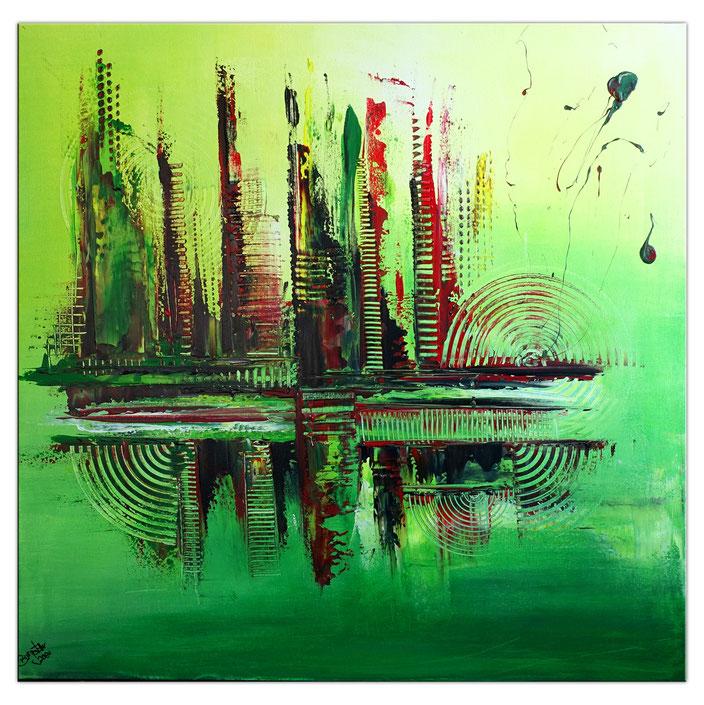 Green City - Abstrakte Malerei Original Bild gruen gelb - Gemälde querformat