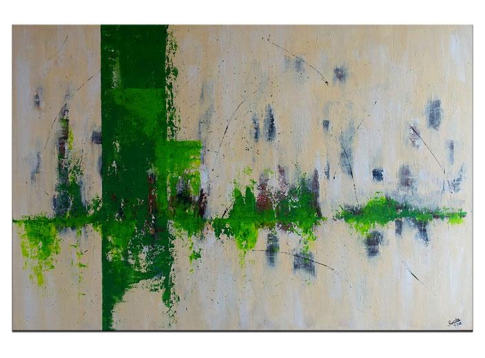 Grüne Stadt am Meer abstrakte Malerei grün blau Acrylbild Unikat Wandbild 81x116