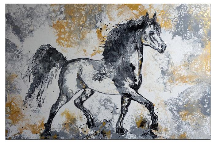 steigendes pferd pferdebild malerei gem lde burgstaller. Black Bedroom Furniture Sets. Home Design Ideas