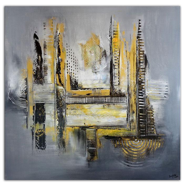 Silber Gold Ocker Netz - Abstraktes Bild - abstrakte Malerei