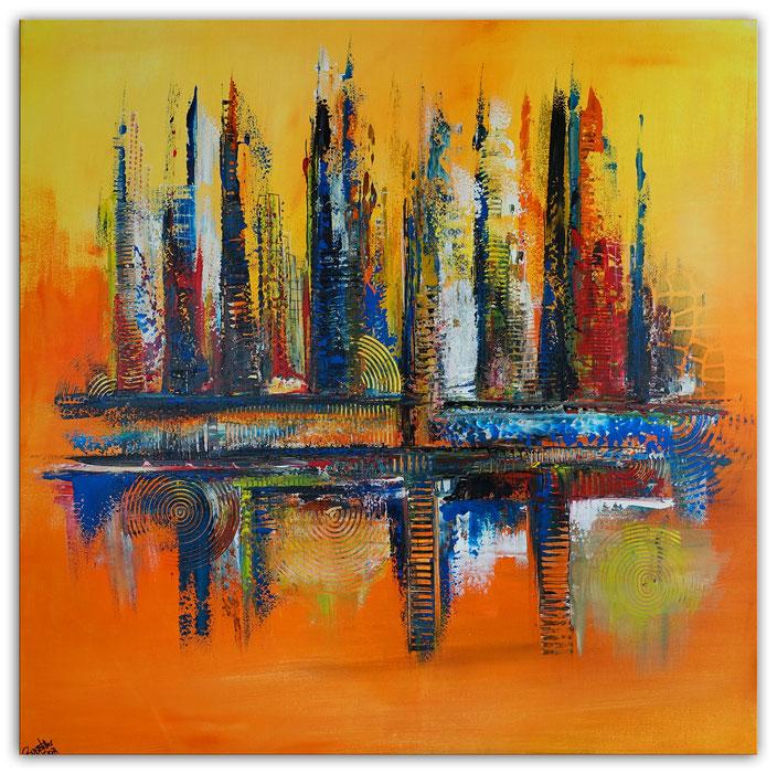 Oase abstraktes Leinwandbild orane blau modernes Kunstbild Büro Loft 100x100