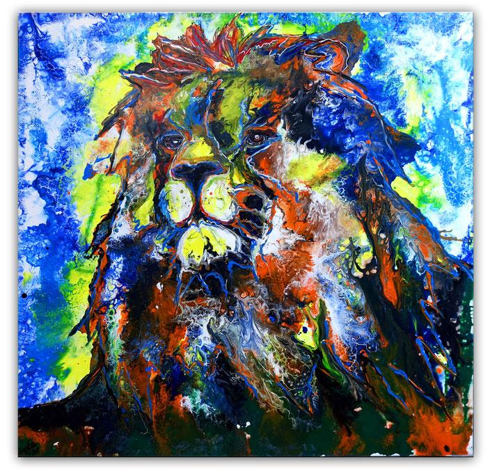 Simba Löwen Wandbild handgemalt Tier Malerei Tierbilder Original Gemälde