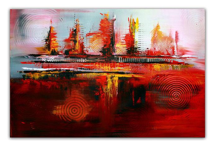 Rote Kreise - günstige moderne abstrakte Leinwandbilder - Acrylbilder und Gemälde abstrakt