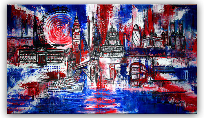 London Stadtbild Stadt Bild Gemälde - Stadtgemälde Wandbild Wohnzimmer