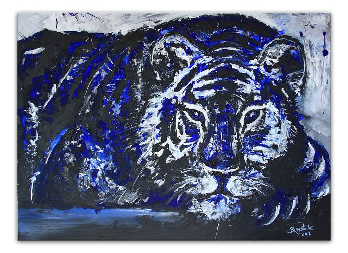 Chillender Tiger - Malerei Gemälde Unikat blau schwarz weiß