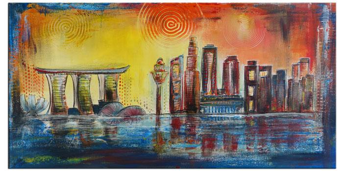 Singapur - Städtebild Gemälde Stadtbilder Malerei - Acrylbilder vom Künstler