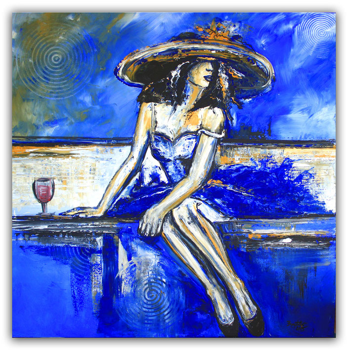 Enttäuscht - Boheme Bild Frau blau weiß Malerei Unikat - 100x100cm