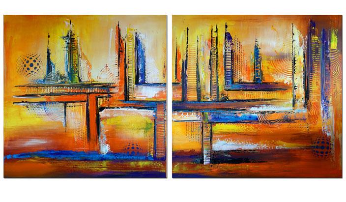 Kontinente - Blau gelb rot schwarz - abstraktes Künstler Bild - querformat