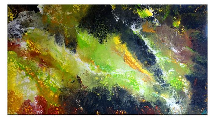 Nature - Gemälde grün rot grau abstrakt mit Glitter - Wandbild 50x100cm